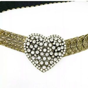 Antique gold vintage fishscale heart belt